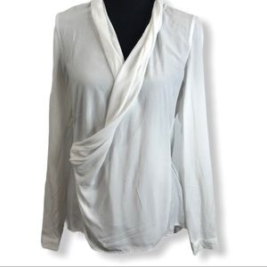 LIEBEKIND White Long Sleeve Drape Shirt Size 38/M